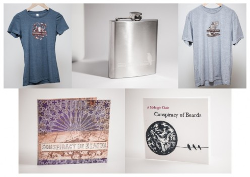 Men's and Women's style t-shirts, engraved flask, self titled CD, A Midnight Choir DVD documentary